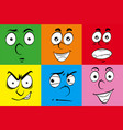 different expressions on human faces vector image vector image