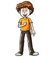 doodle character for happy man vector image