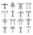 electrical tower icon set outline style vector image vector image