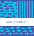 fish silhouette pattern set seamless vector image