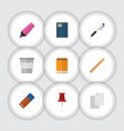 flat icon equipment set of rubber pencil vector image vector image