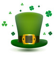 green top cylinder hat with gold buckle luck leaf vector image vector image