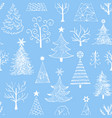 hand drawn christmas tree on blue background vector image vector image