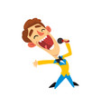 host of the show joyful man with microphone vector image