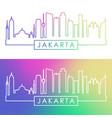jakarta skyline colorful linear style editable vector image vector image