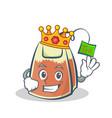 king tea bag character cartoon art vector image vector image