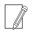 line cardboard object with pencil utensil design vector image vector image