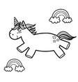 magic unicorn and rainbows coloring page fantasy vector image vector image