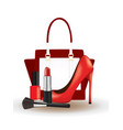 make up set with red shoe and handbag vector image