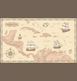 old caribbean sea map ancient pirate routes vector image