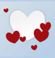 paper cut large white heart and small red heart vector image vector image