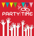 Party Time with Flags and Risen Hands on Red vector image