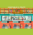 people shopping in a grocery store vector image vector image