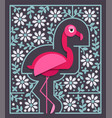 pink flamingo in paper cut style with border vector image vector image