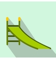 Playground green slide flat icon vector image vector image