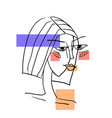portrait fashion slim female in modern abstract vector image vector image