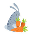 rabbit smiling happy to be with carrot vector image vector image