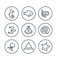 sea line icons in circles vector image