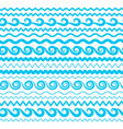 sea water waves seamless borders aqua elements vector image