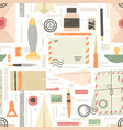 seamless pattern various supplies on theme vector image vector image