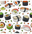 seamless pattern with japan sushi isolated on vector image vector image