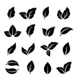 set of black leaf icons vector image vector image