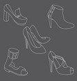 set of shoes on white background vector image vector image