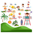 set of summer beach activity vector image