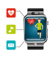 smart watch runner heart rate technology healthy vector image vector image