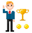 smiling businessman and trophy with coins pixel vector image