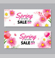 spring sale cover banner with blooming flowers vector image vector image