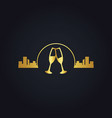 urban glass wine city night gold logo vector image