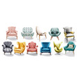 vintage retro armchair set collection vector image