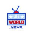 world life news logo original design social mass vector image vector image