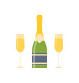 champagne and two glasses vector image