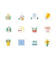 Flat color Christmas icons set vector image
