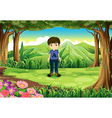 A timid young boy at the forest vector image vector image