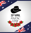 anzac day celebration card flags australian hat vector image