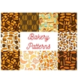Bakery bread products seamless pattern backgrounds vector image vector image