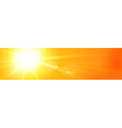 Banner panorama hot sun sky orange yellow vector image vector image