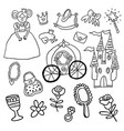 beautiful princess castle carriage frog vector image