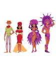 brazilian people in traditional costumes for samba vector image vector image