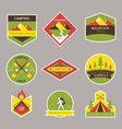 Camping Label and Badge Flat Design Style vector image vector image