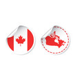 canada sticker with flag and map label round tag vector image vector image