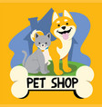 cartoon cat and dog for petshop business vector image vector image