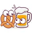 cartoon pretzel and beer