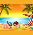 Children relax in the beach