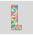 Color Piece Puzzle Jigsaw Letter - L vector image vector image