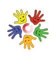 colorfull palm of the hands vector image vector image
