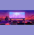 couple at car cinema dating in drive-in theater vector image vector image